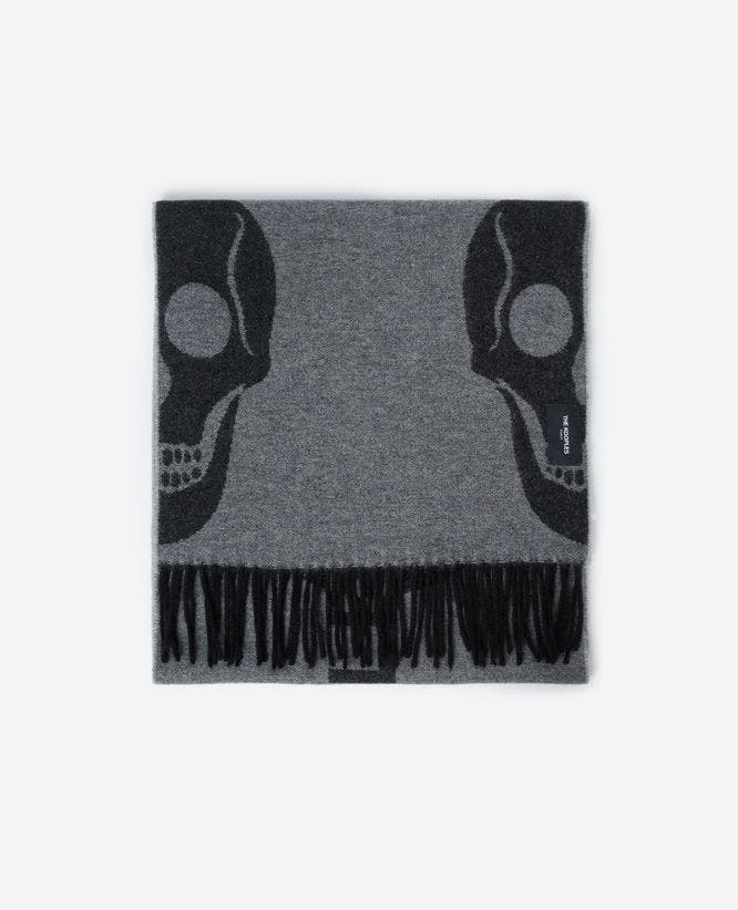 Grey cashmere wool scarf with fringing