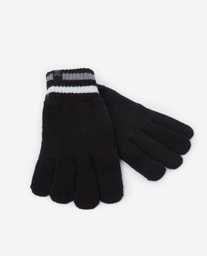 Black cotton gloves with striped cuffs
