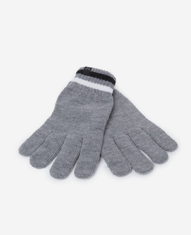 Grey cotton gloves with logo & striped cuffs