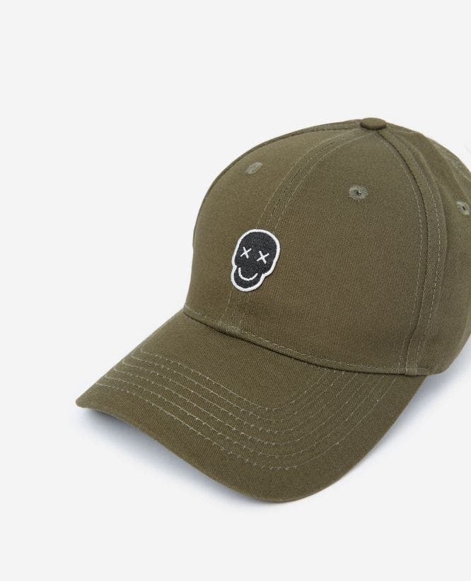 Khaki cotton cap with Happy Skull badge
