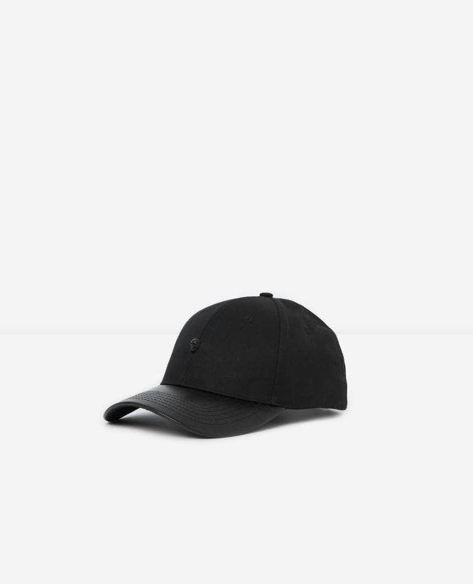 Black cotton cap with leather visor
