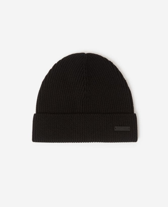 Cable knit black wool beanie with metal plate