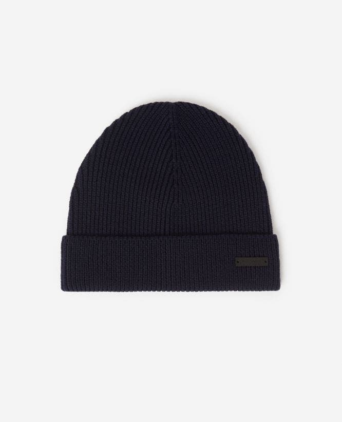 Cable knit wool midnight blue beanie with logo