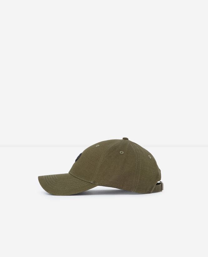 Khaki cotton cap with rubber logo