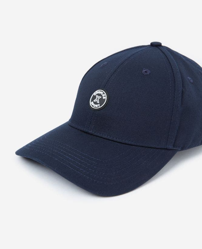 Blue fabric cap with rubber logo
