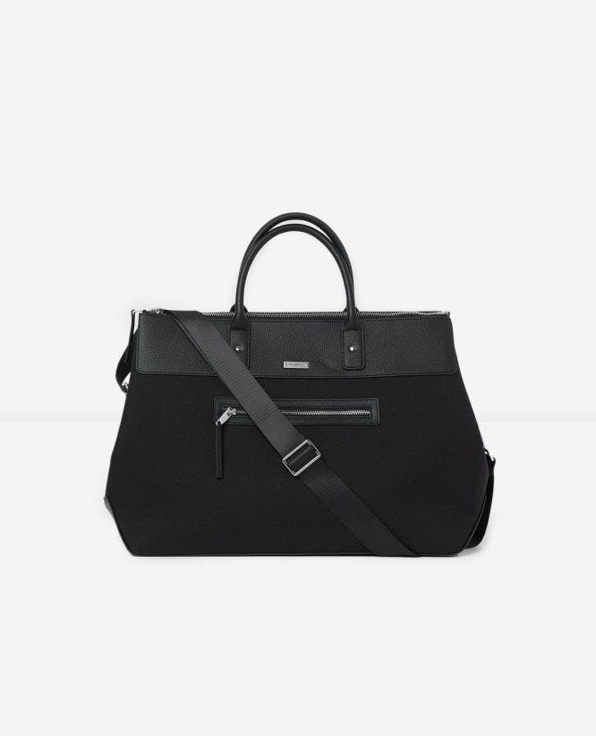 Black weekend bag with handle and front pocket