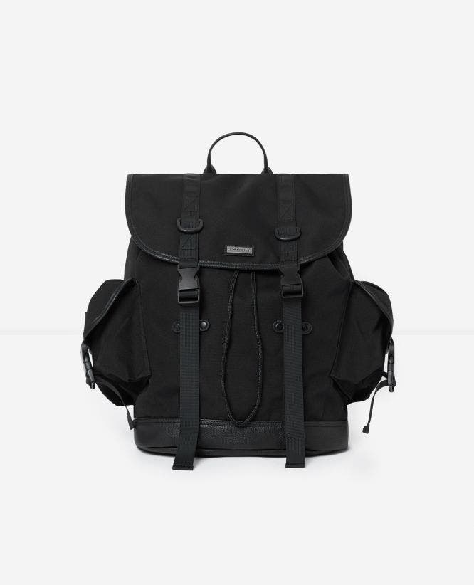 Dual-material black fabric backpack