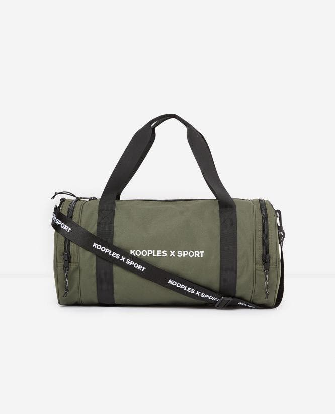 Zipped khaki polyester sports bag
