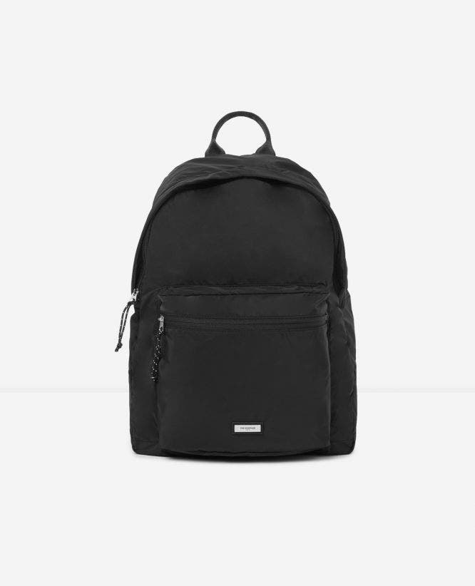 Convertible black nylon backpack
