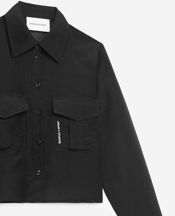 Breast-pocketed black dress shirt