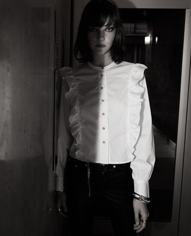 White cotton shirt with frills