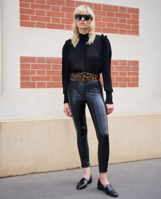 Fitted jean-style black leather trousers
