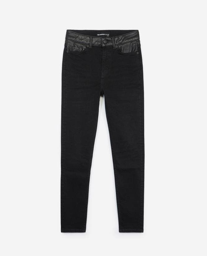Slim-fit black jeans with leather insert
