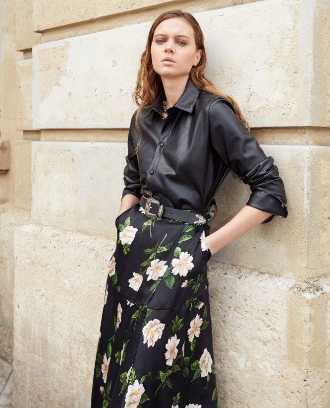 Black silk printed asymmetrical skirt