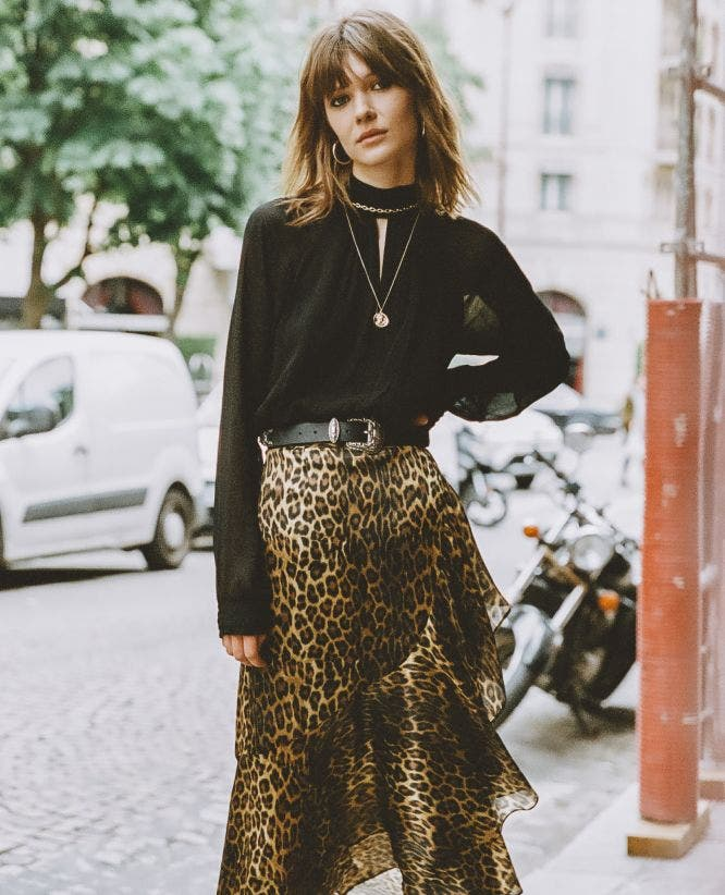 Leopard print long split skirt