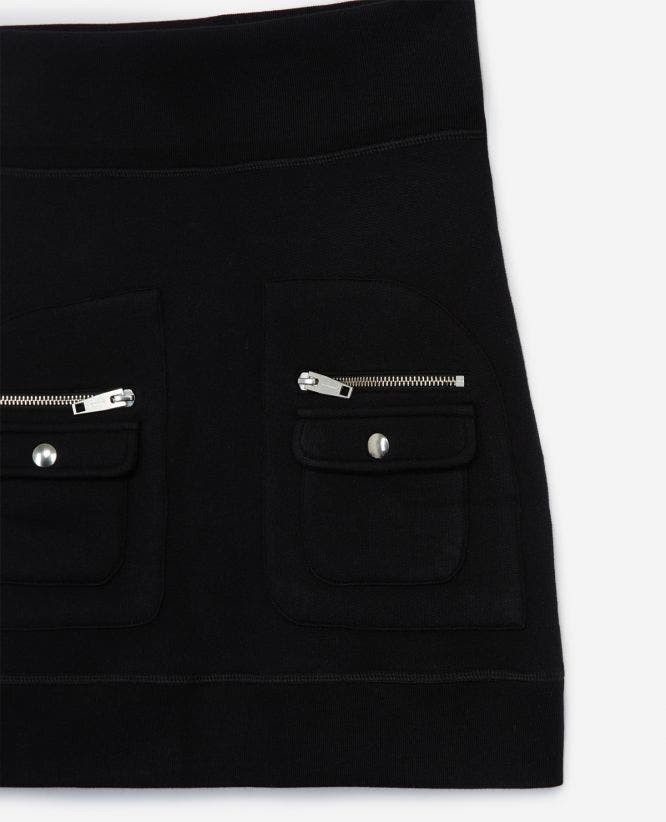 Cotton short black skirt zipped