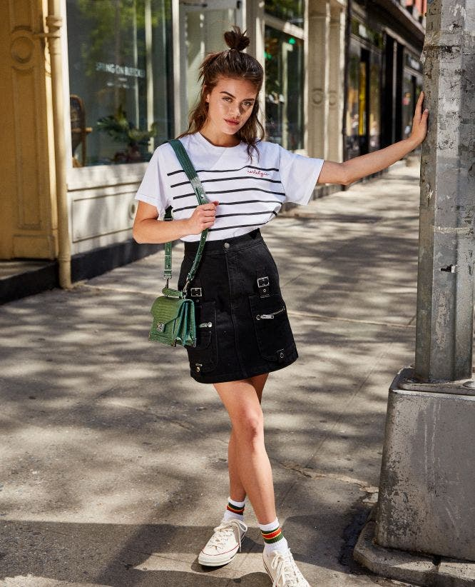 Black denim high-waisted short skirt