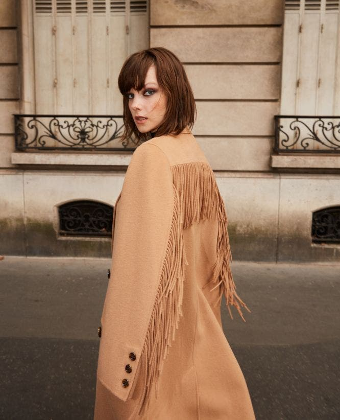 Wool warm winter coat in camel with fringing
