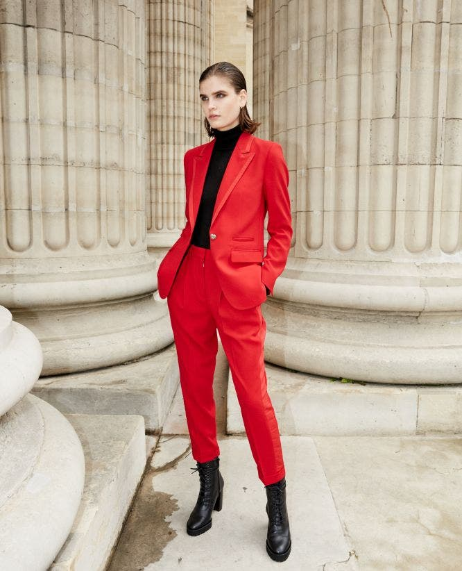 Loose crepe red suit trousers