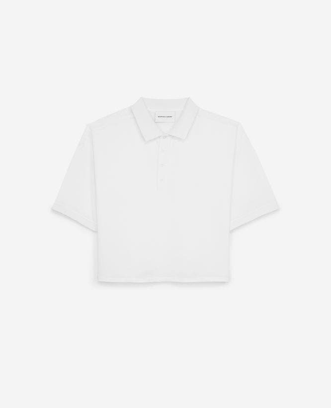 Lace-detailled loose white polo shirt