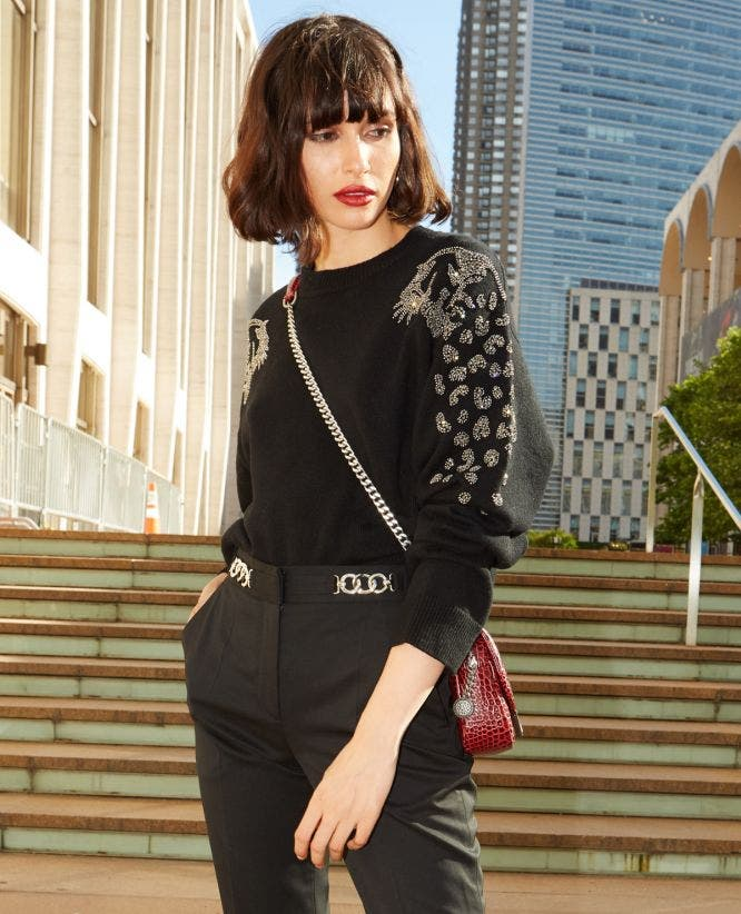 Black formal sweater with rhinestone leopard