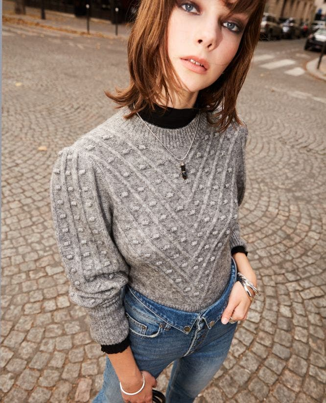Grey wool blend sweater with crew neck