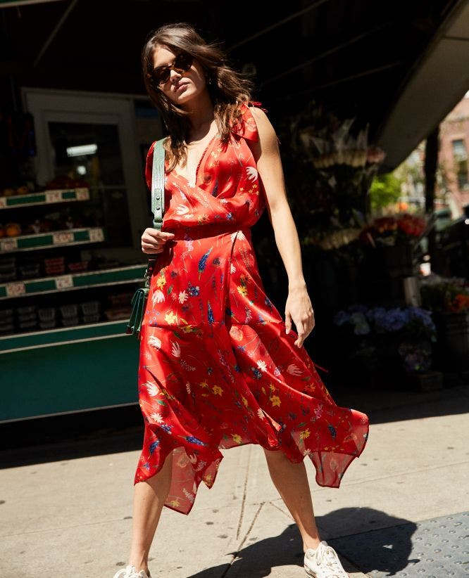 Long red floral motif dress