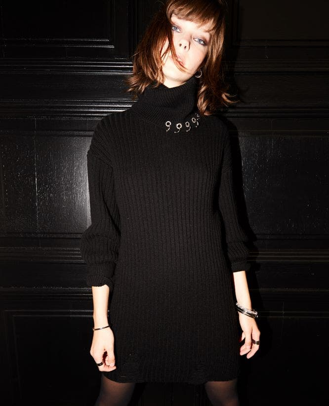 Black long knit dress with rips