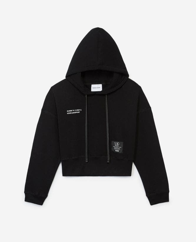 Black hoodie with logo patch