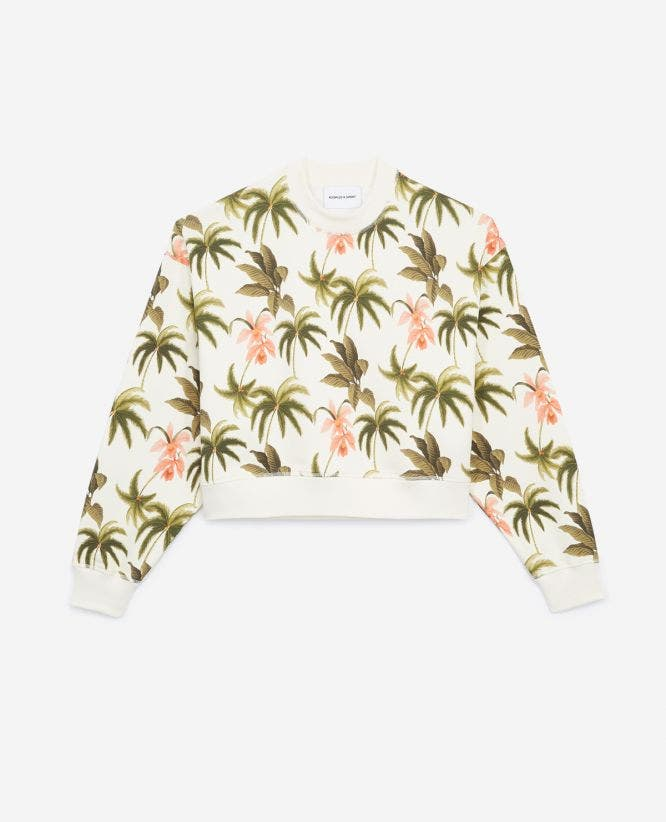 Cropped printed sweatshirt with palm tree motif