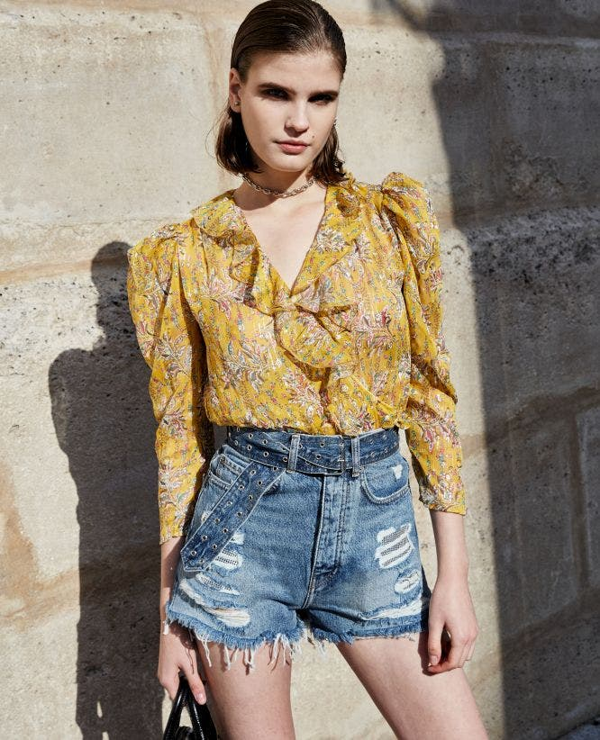 Frilly loose-fitting silk top