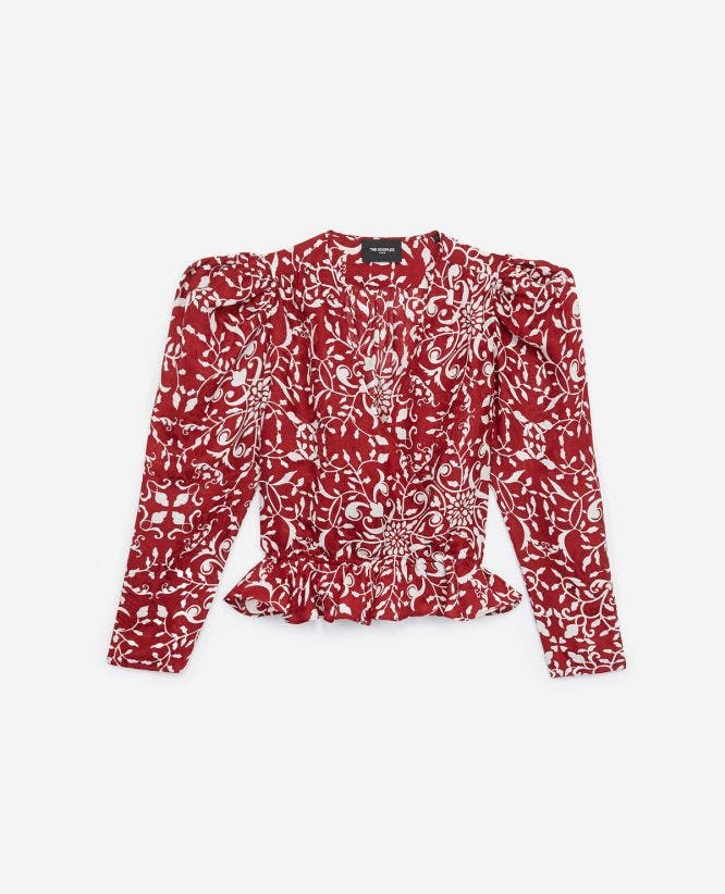 Printed red blended silk top with ruffles