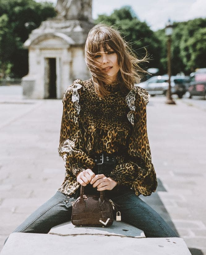 Leopard smock fitted silk top