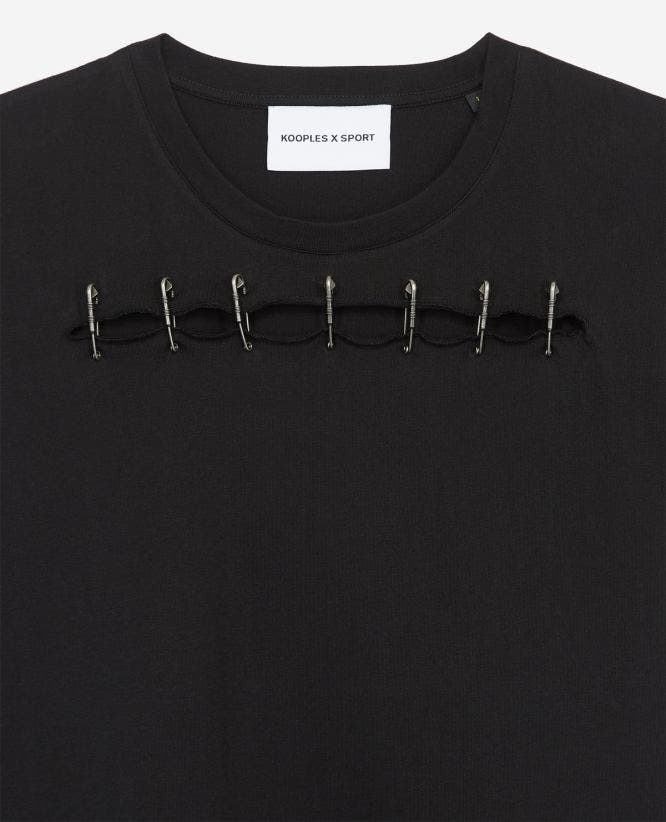 Black cotton T-shirt with opening and pins