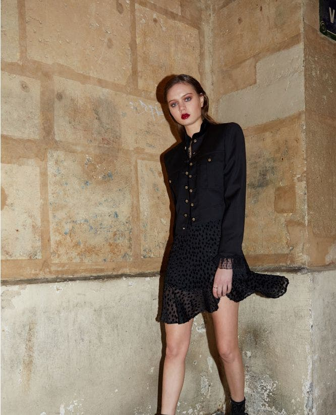 Black military-style jacquard jacket