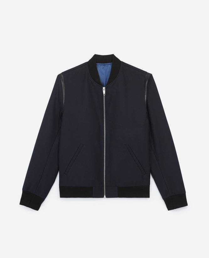 Leather detail blended blue rock-style wool jacket
