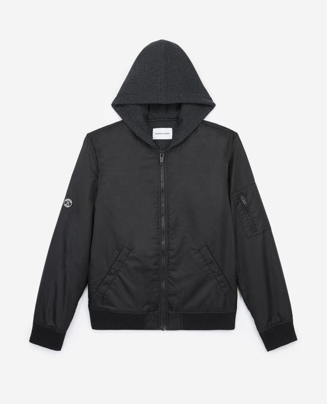 Black nylon jacket with fleece hood