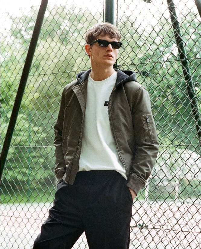 Fleece khaki rock-style jacket