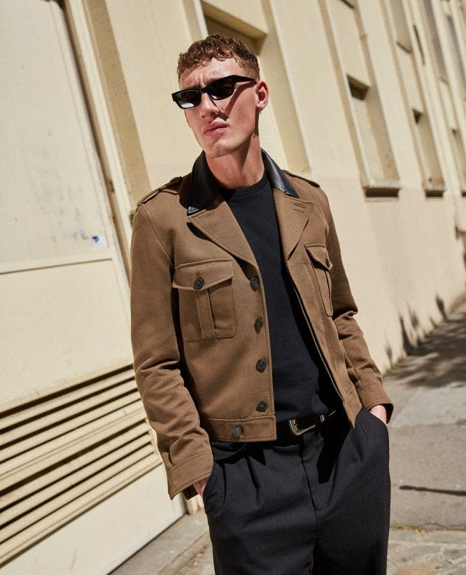 Military-style khaki cotton jacket