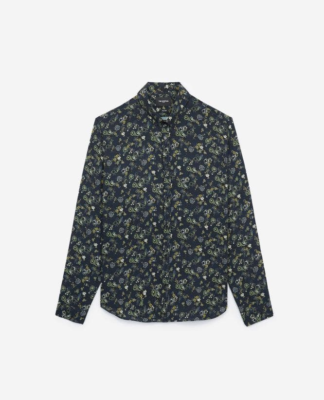 Floral print midnight blue loose fit shirt