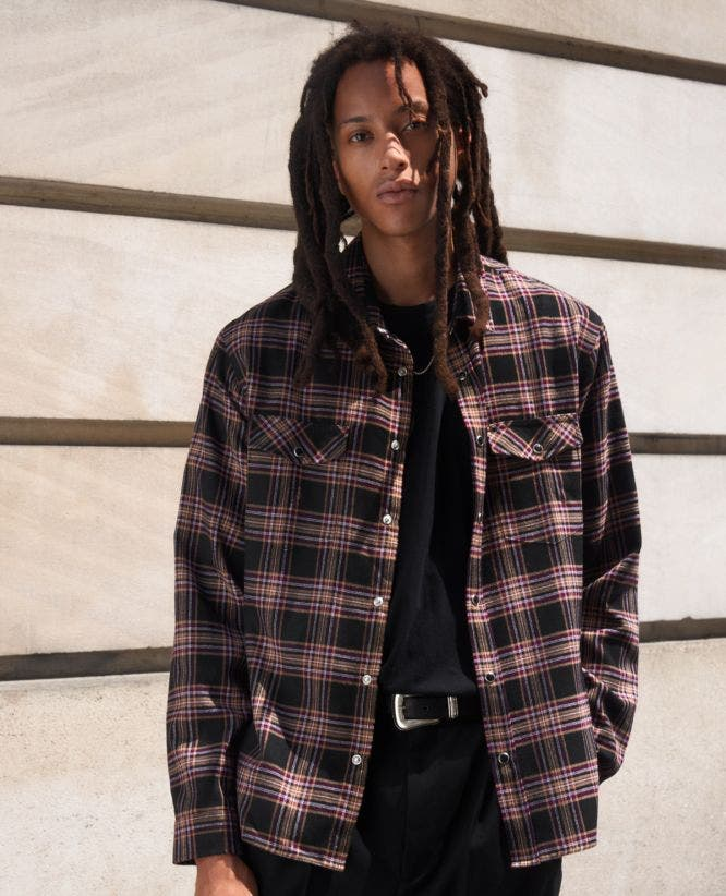 Black flannel checked shirt