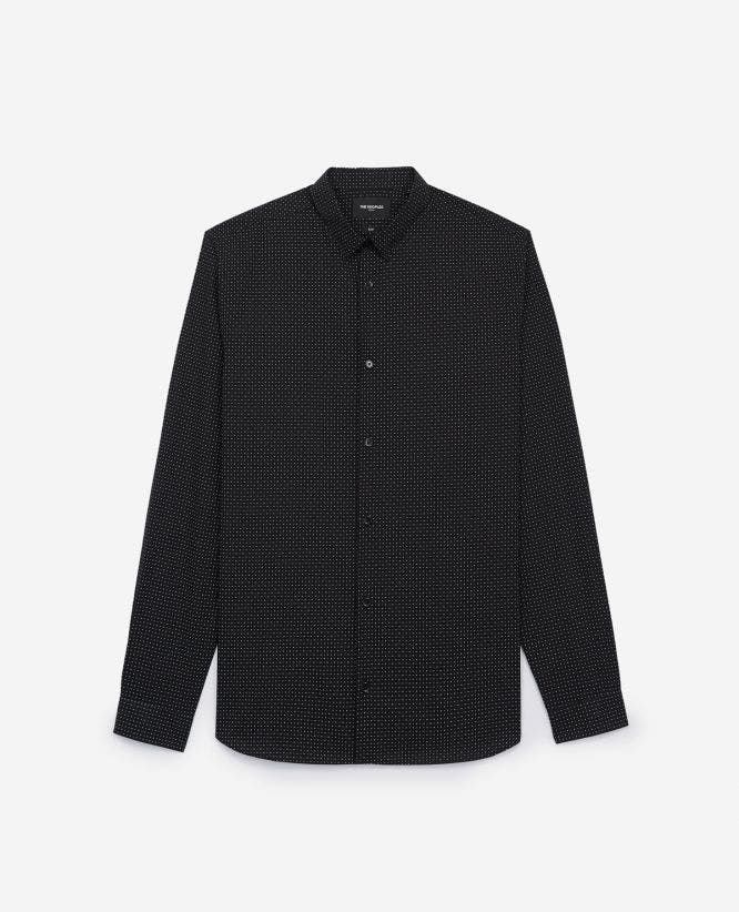 Slim black cotton shirt w/small square print