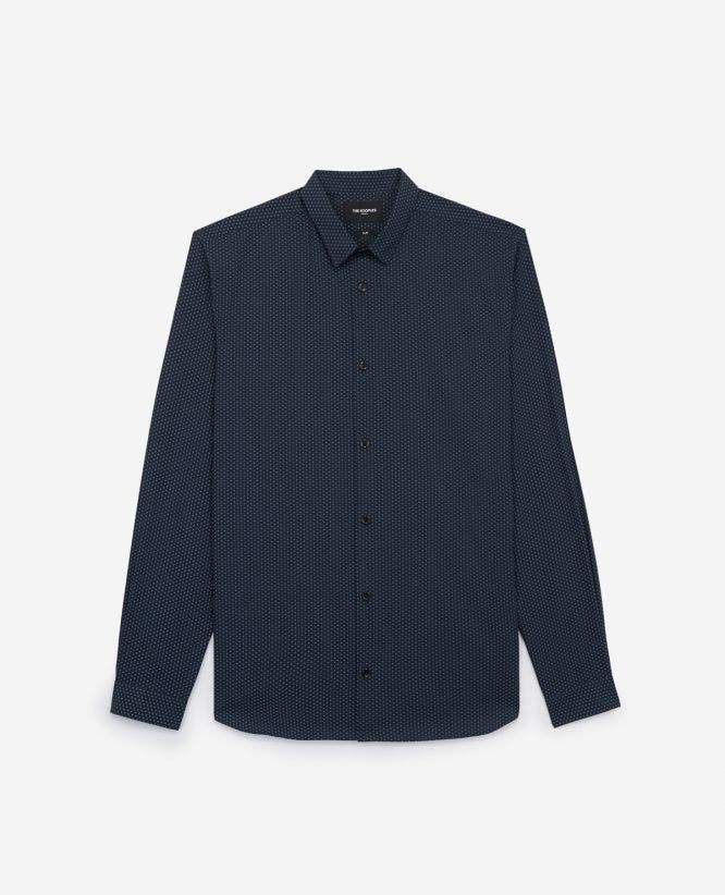 Slim blue cotton shirt, printed