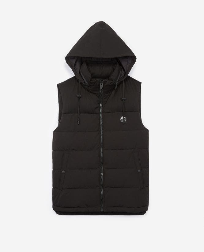 Black nylon sleeveless down jacket with zip