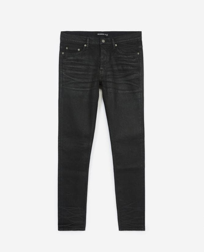 Waxed-effect vintage black jeans w/5 pockets