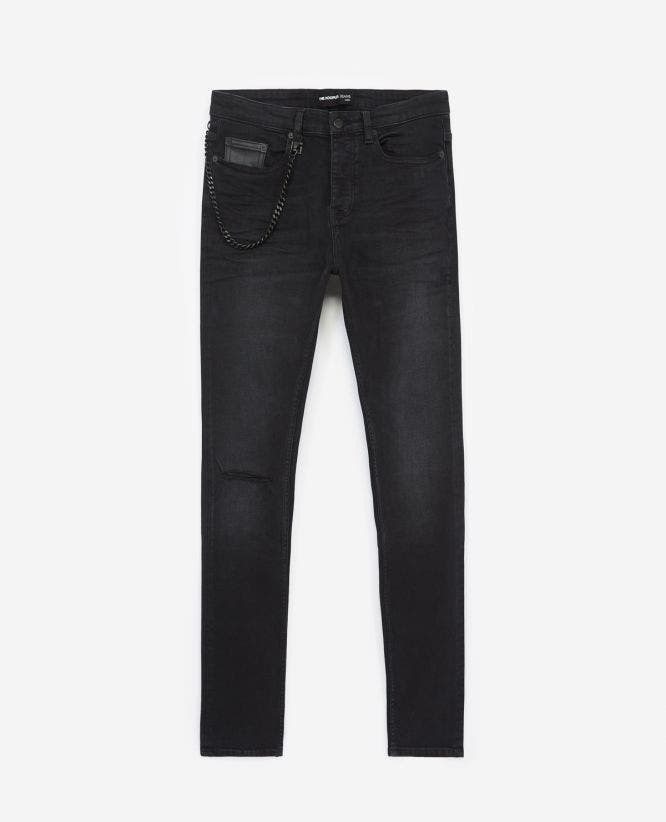 Black jeans with detachable chain & knee rip