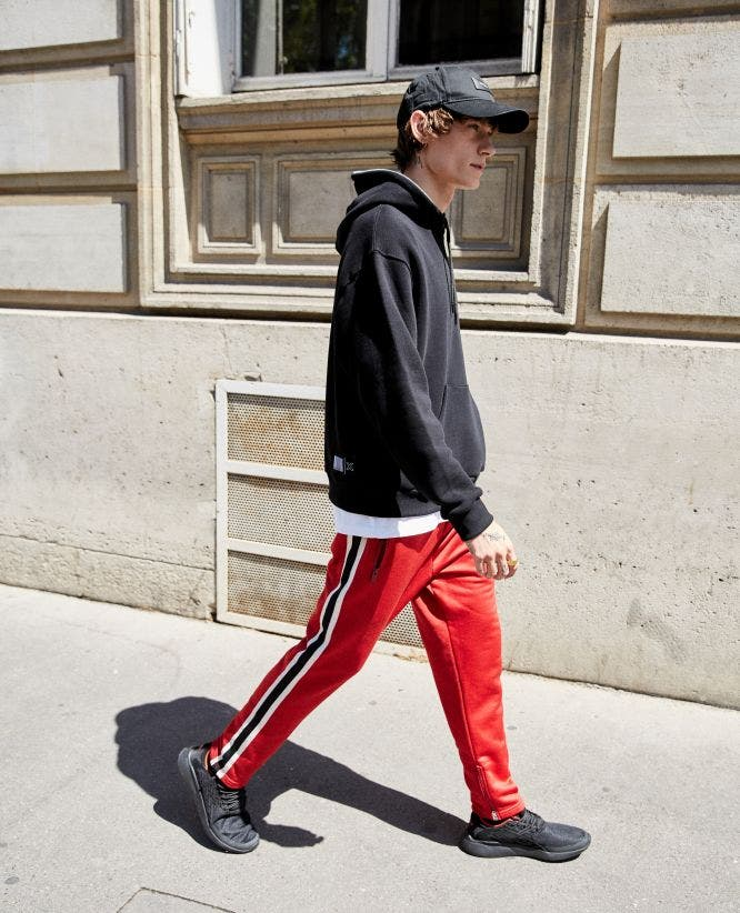 Technical red fleece joggers with two-tone band