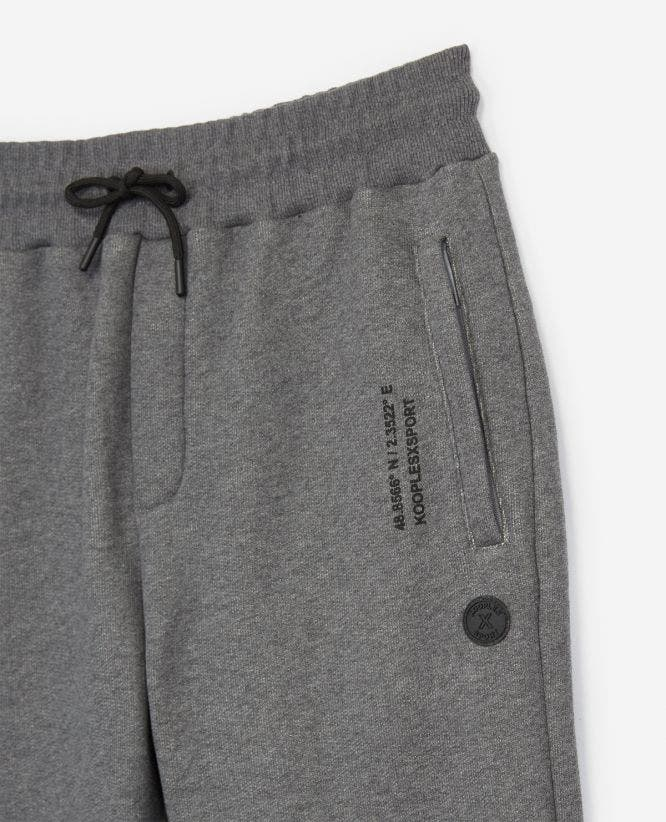 Fleece grey joggers w/ zips at the bottom