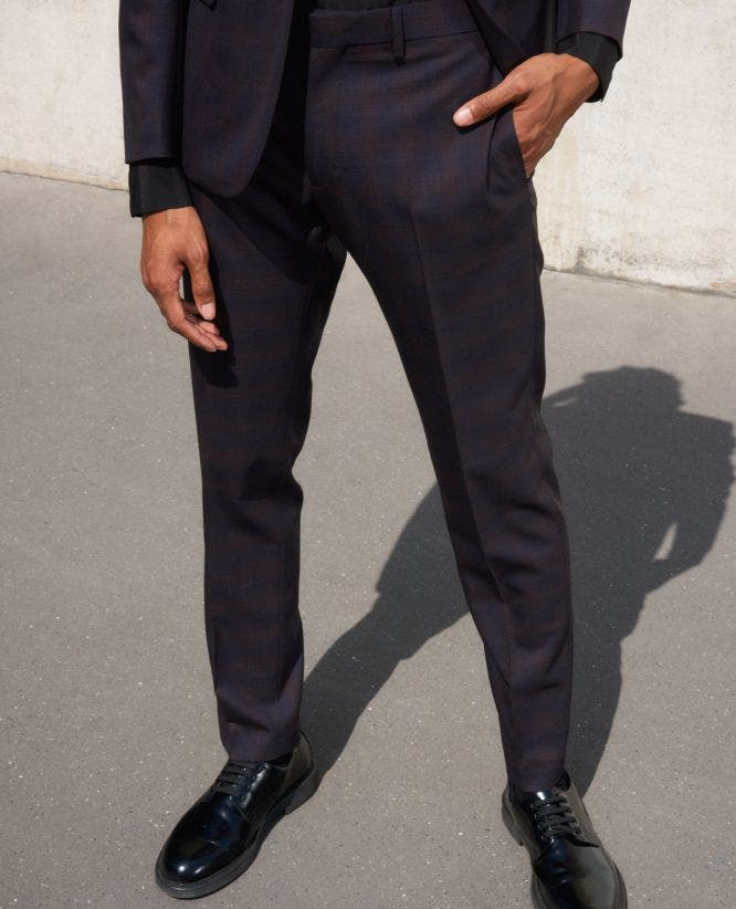Slim-fitting black wool suit trousers