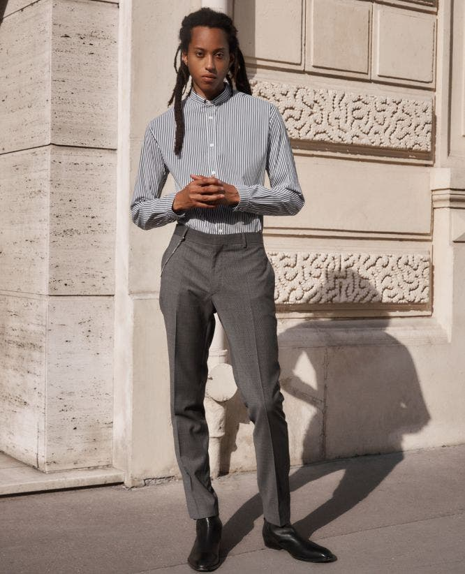 Slim-fitting grey wool suit trousers w/motif